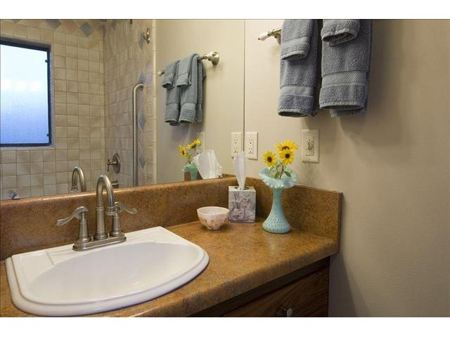 Vanity in the full bathroom, accessed from the hall