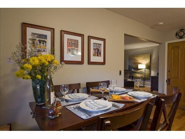 The well-stocked, dine in kitchen with seating for six