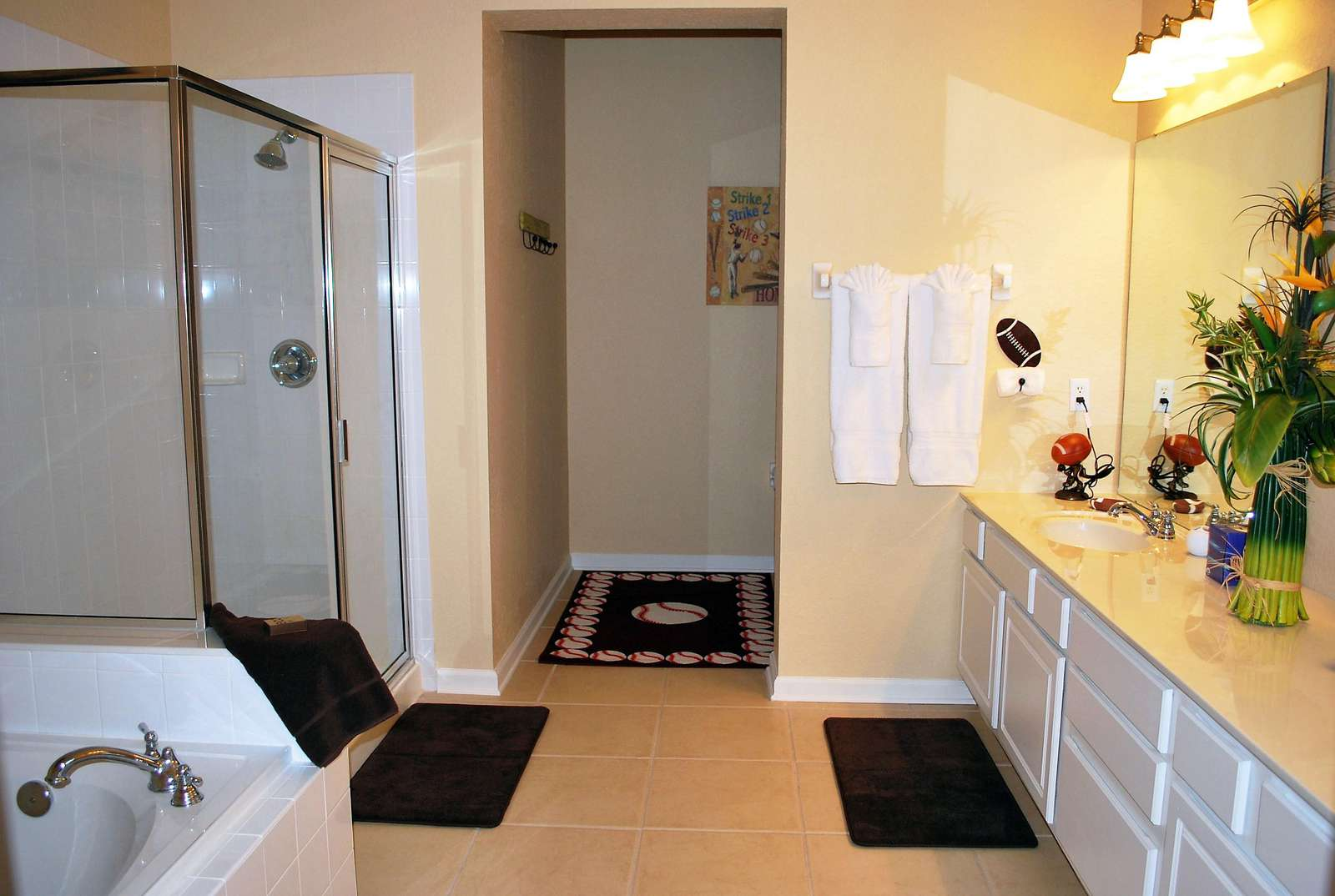 Just the master bathroom is the size of a regular hotel room!