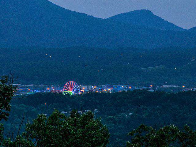 Beautiful View of Pigeon Forge with Mountain Back Drop