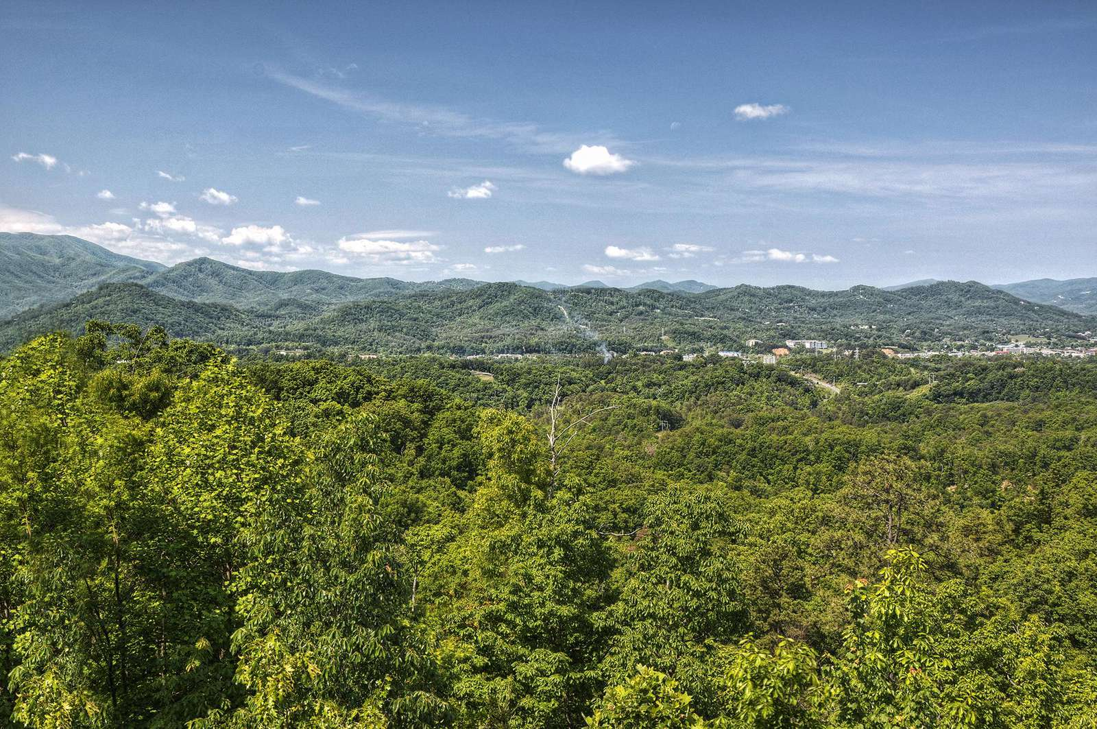 Beautiful Pigeon Forge City & Bluff Mountain Views from Cabin Porch