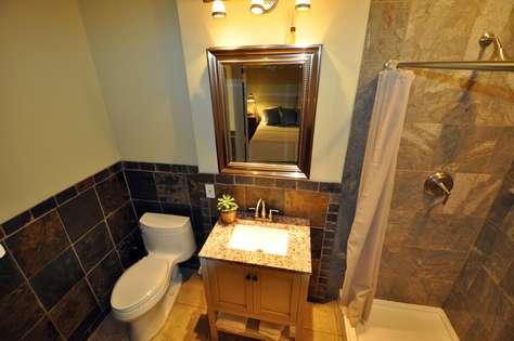 first bathroom slate & stone bathroom