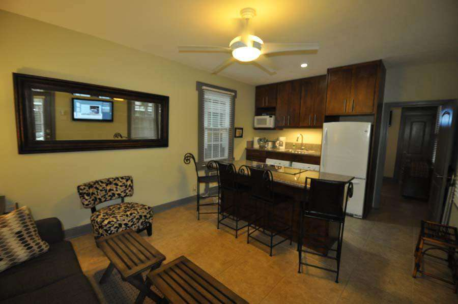 Front living area with full kitchen
