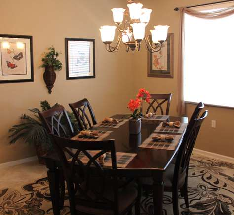 Dining room with vaulted ceilings