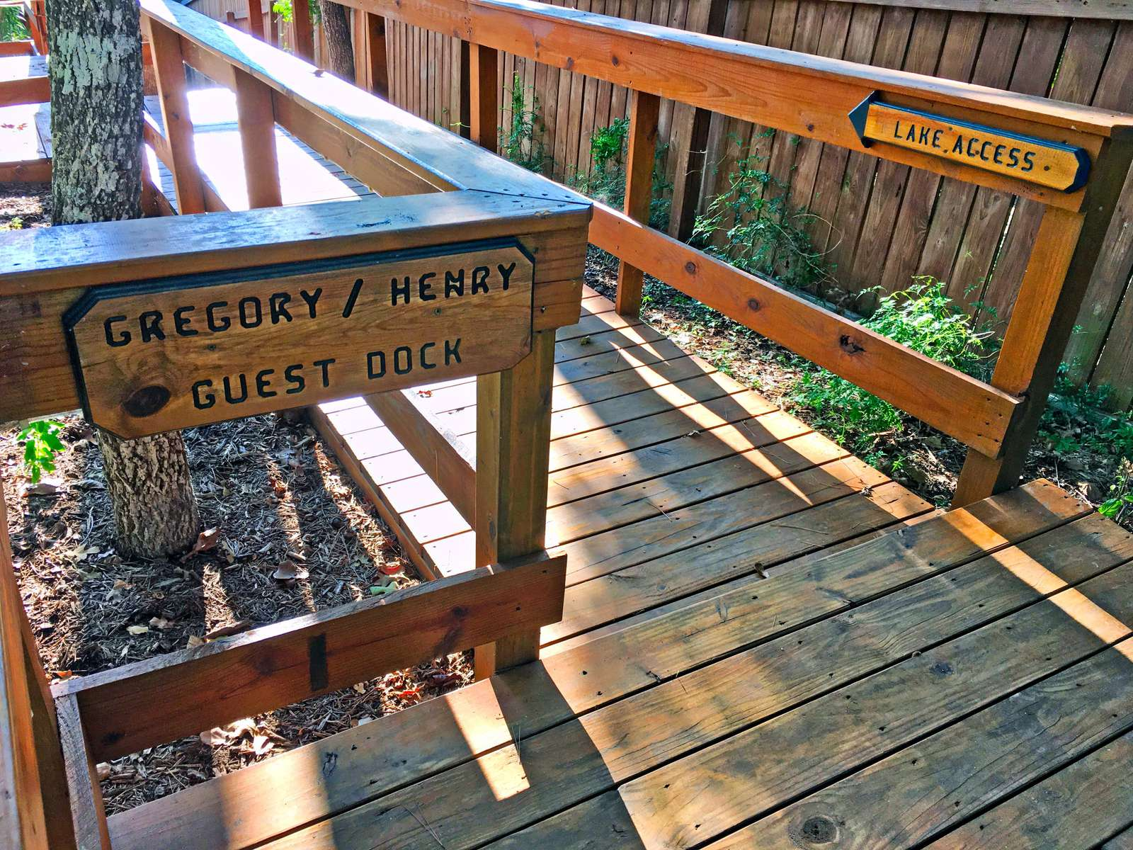 Head down the stairs (66) to reach your own dock with kayaks and fish cleaning station.