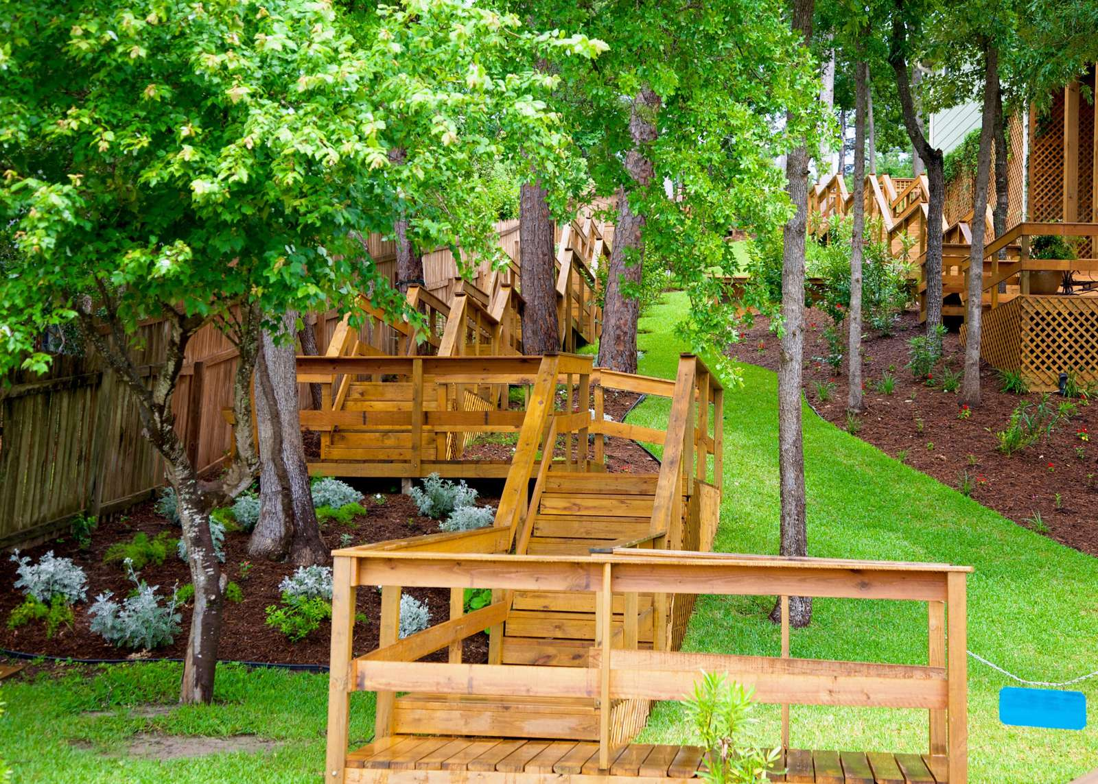 The stairway down to the lake is shaded and has benches for resting.