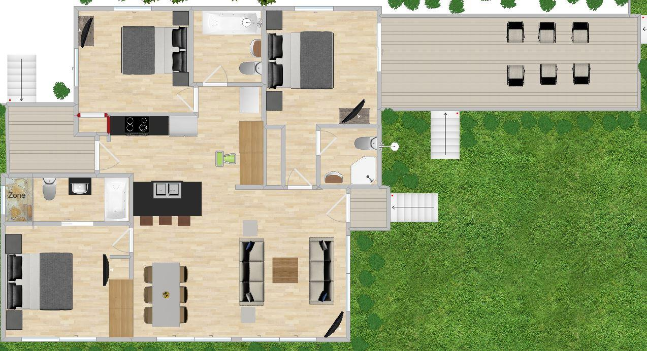 Floor plan: 3 bedrooms & 3 baths, a stand alone private home on the ocean.