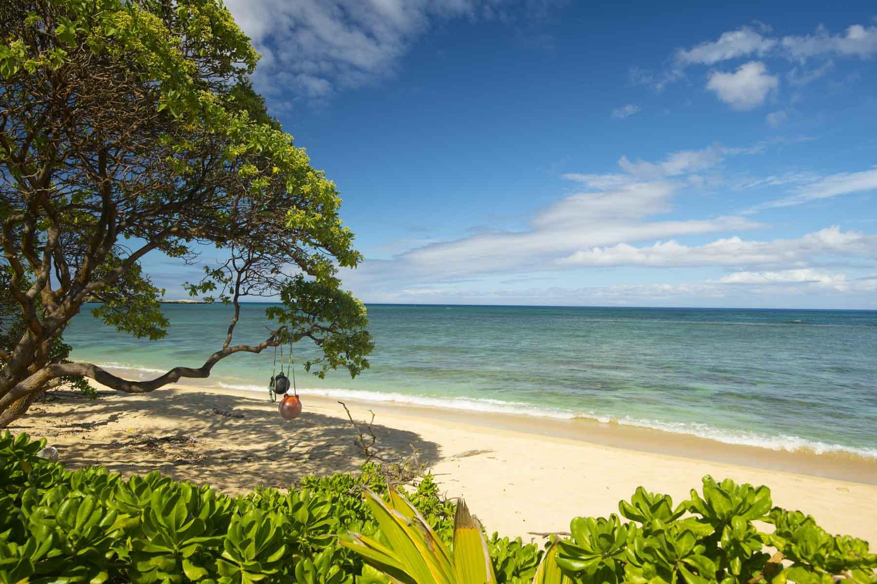 View of beachfront from the private lawn of the home.