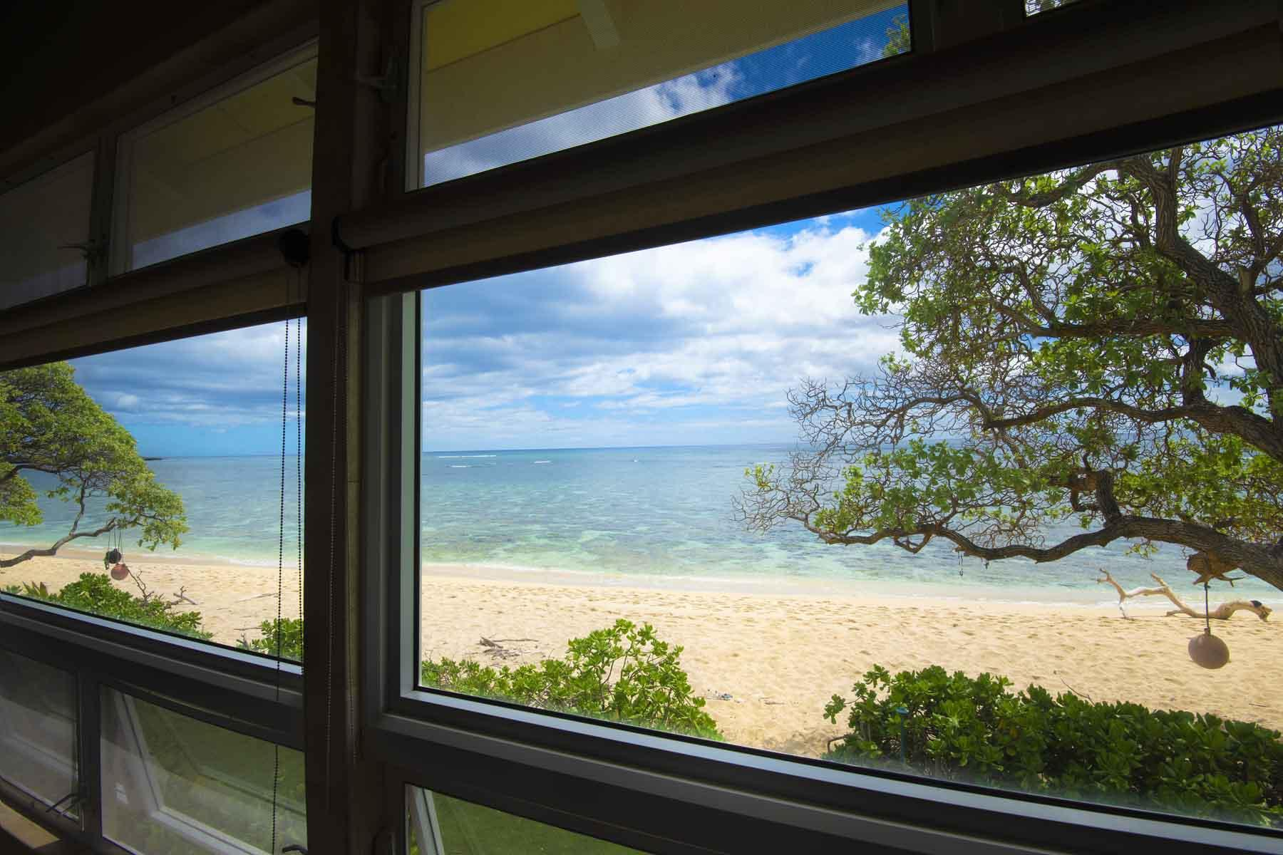 Inside or outside your are on the beachfront.