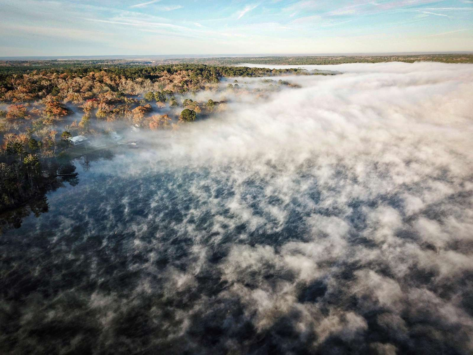 I love this shot of the lake fog we get when the water is warmer than the air. It's the same area as the proceeding photo