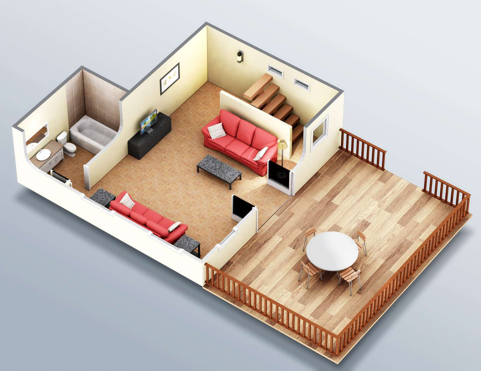 This is the lower water side rendering. The living area sets above it and both areas have sizable decks.