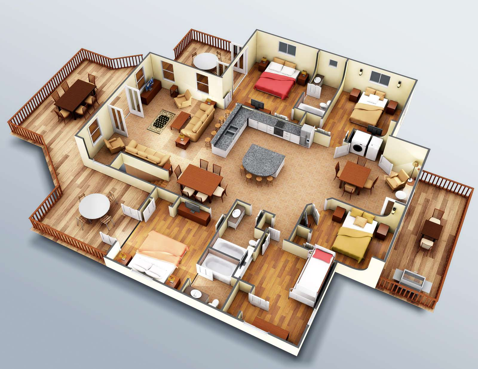 Use these accurate (down to the furniture) renderings coupled with the pictures to fully understand the interior layout.