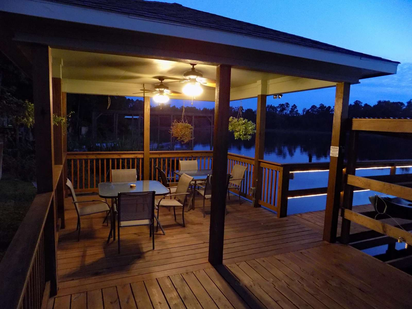 The light show begins as evening approaches. Enjoy the balmy lake breezes in the cabana