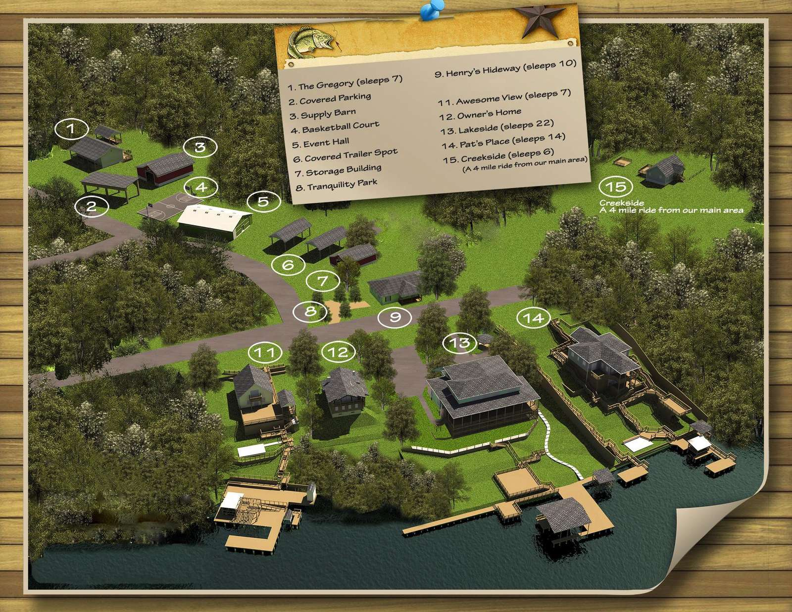An accurate map of our properties shows each homes location. as well as facilities.
