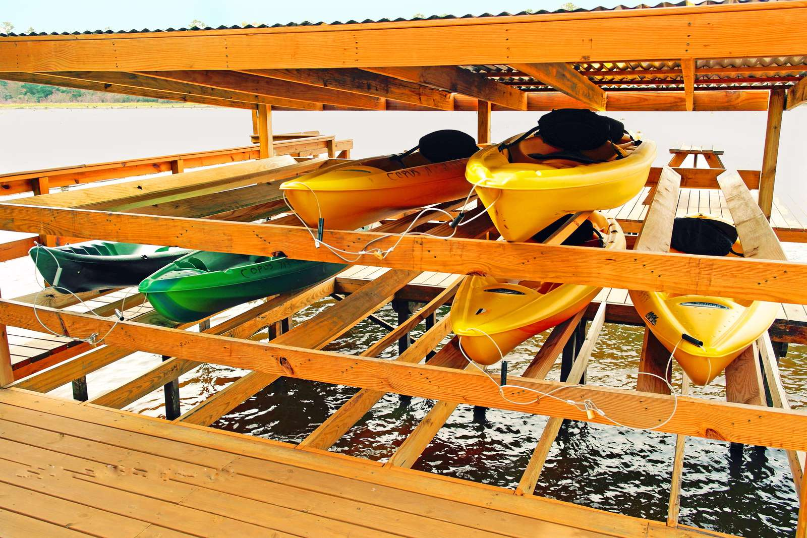 The kayaks are for your use, no need to share with others.. Put a life jacket on, hop on a kayak and explore!