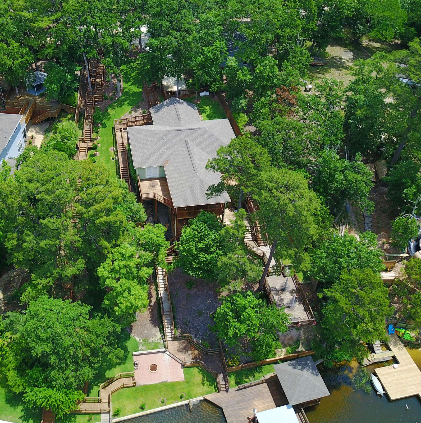 A drone shot of Pat's Place showing the layout of decking,