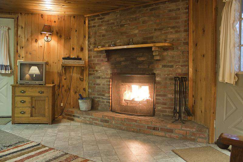 Large brick fireplace in Douglas Fir Cabin.