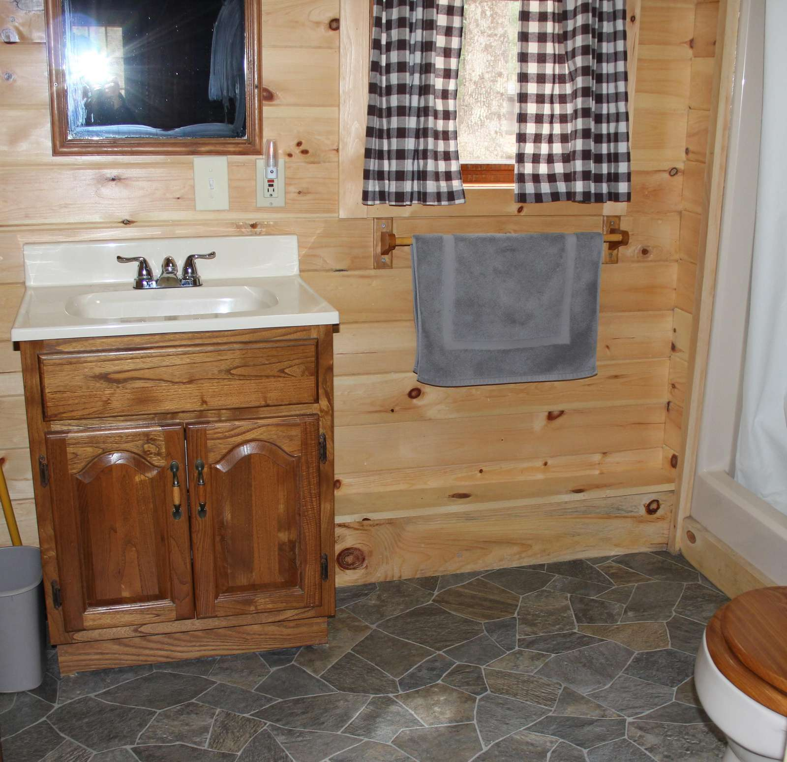 Bathroom with Shower at Douglas Fir Cabin