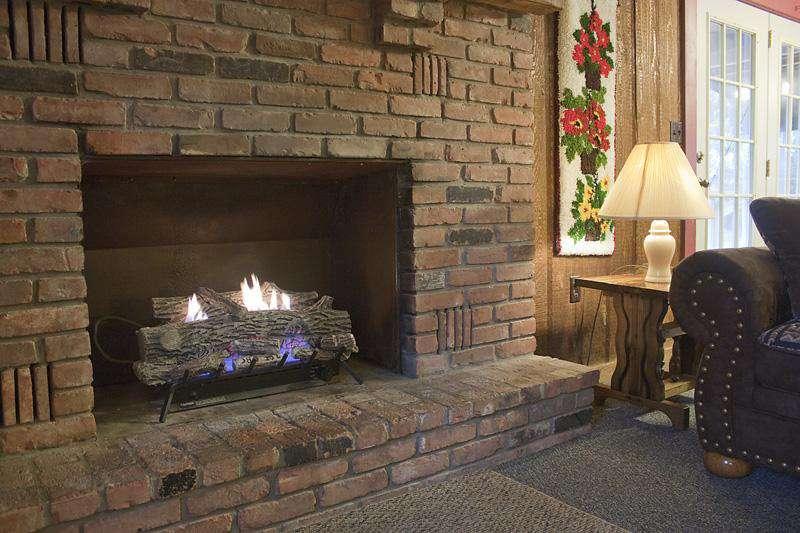 Living Room Fireplace in Hemlock Haven Cabin.