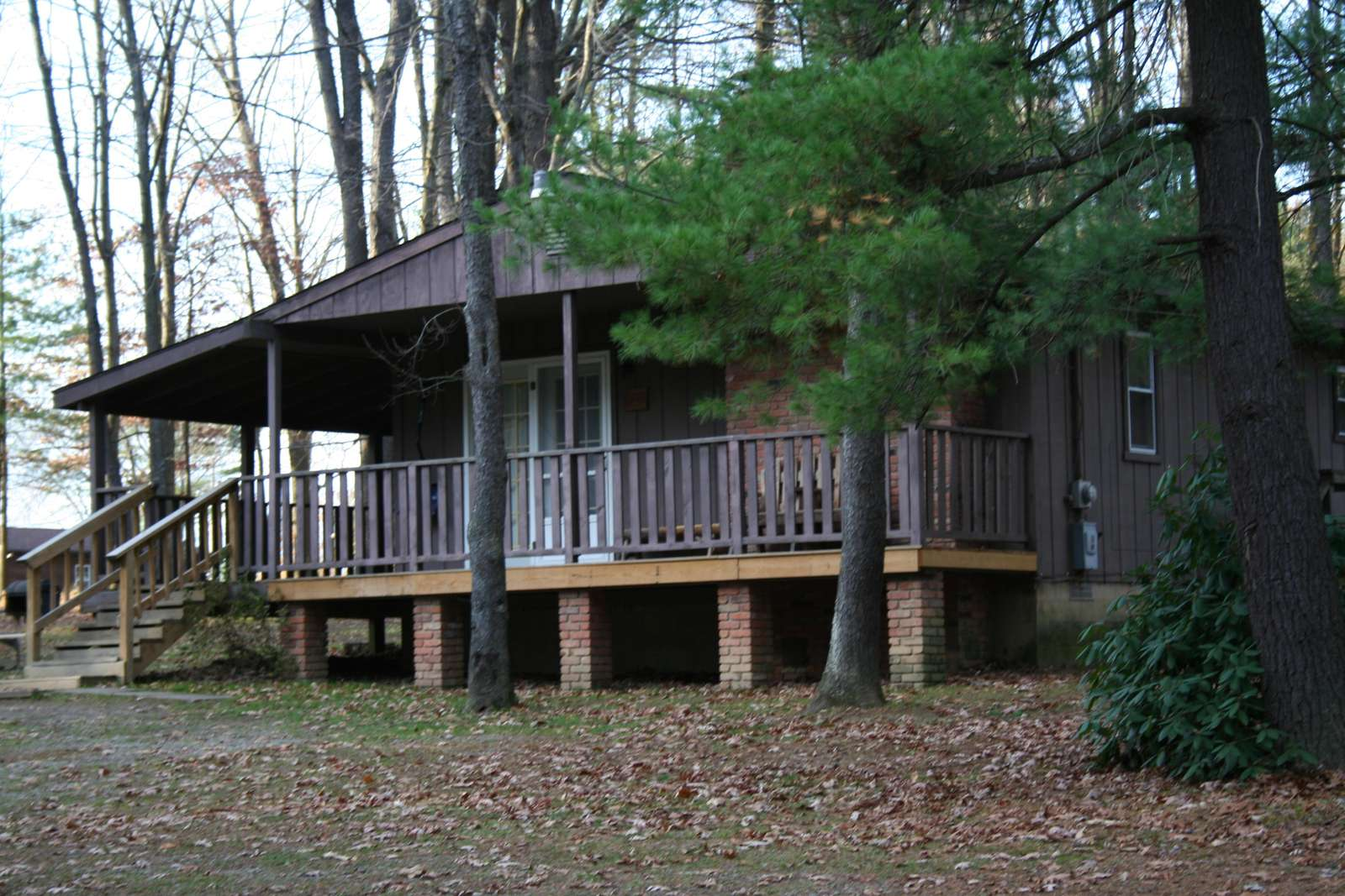 Hemlock Haven Cabin showing a front view.