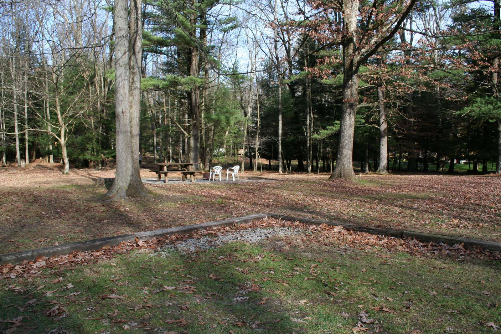View from the side of Old Hickory Cabin showing the picnic area