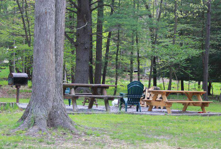 Another view of the picnic area, picnic table, campfire area and charcoal grill