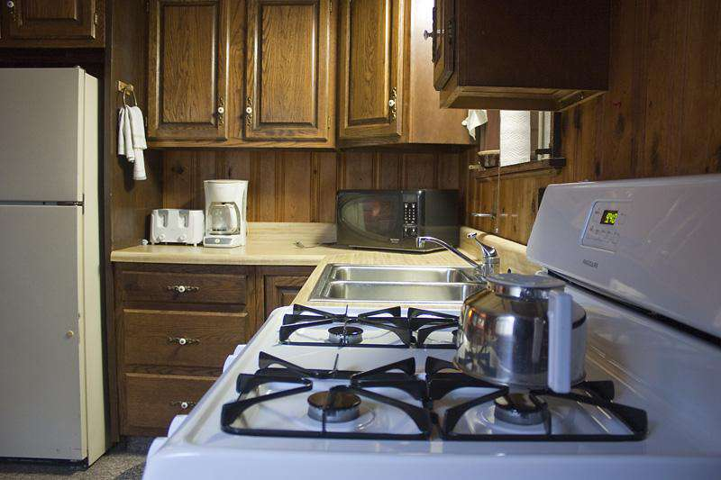 Fully equipped kitchen at Old Hickory Cabin.