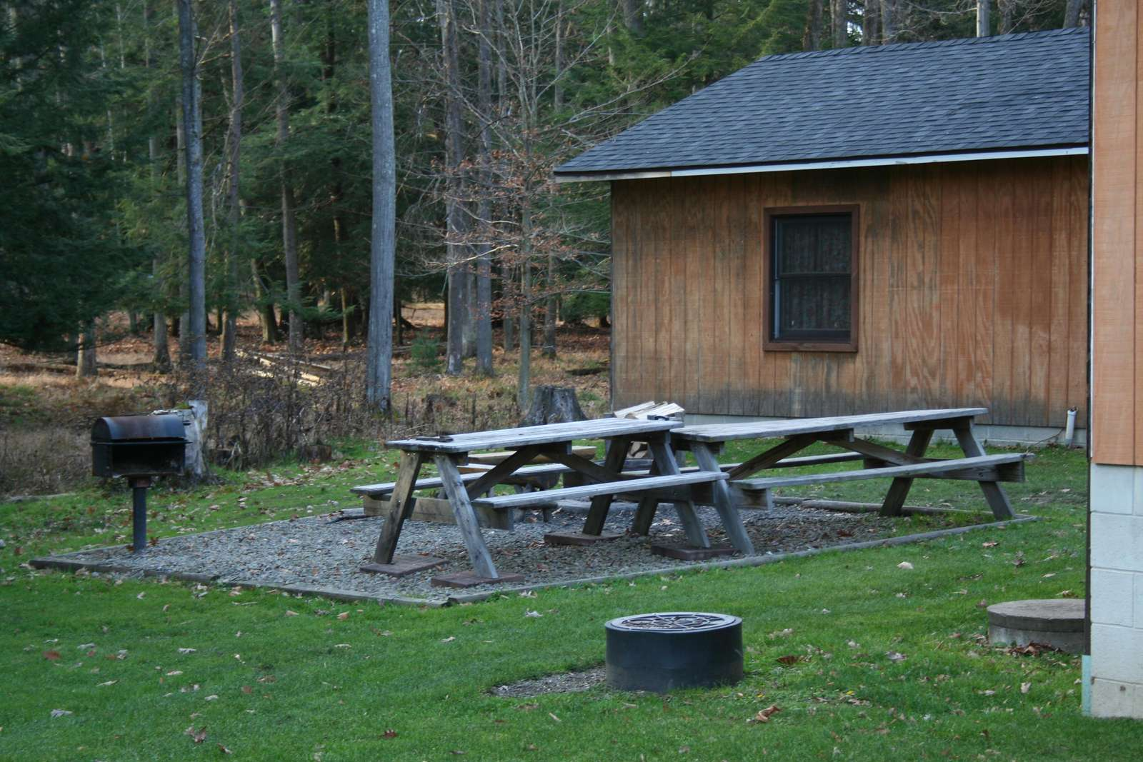 Picnic area at Sunburst Locust Cabin and the Annex. Charcoal Grill, Firepit, picnic tables.
