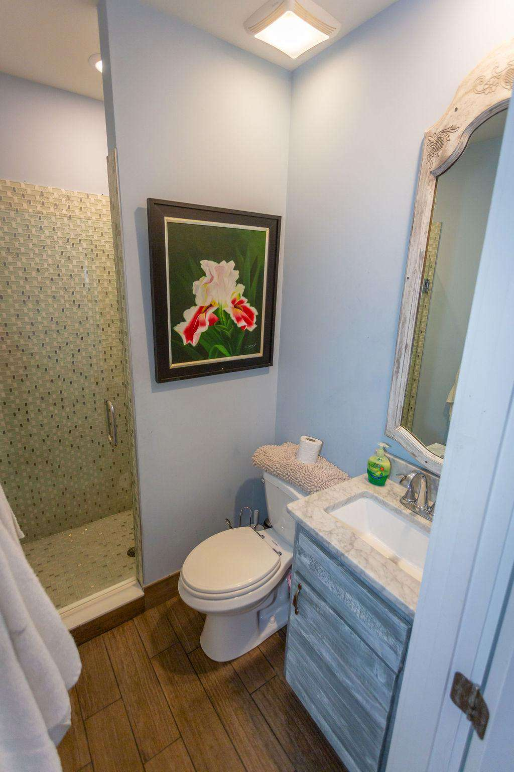Bathroom # 6 has large white marble shower