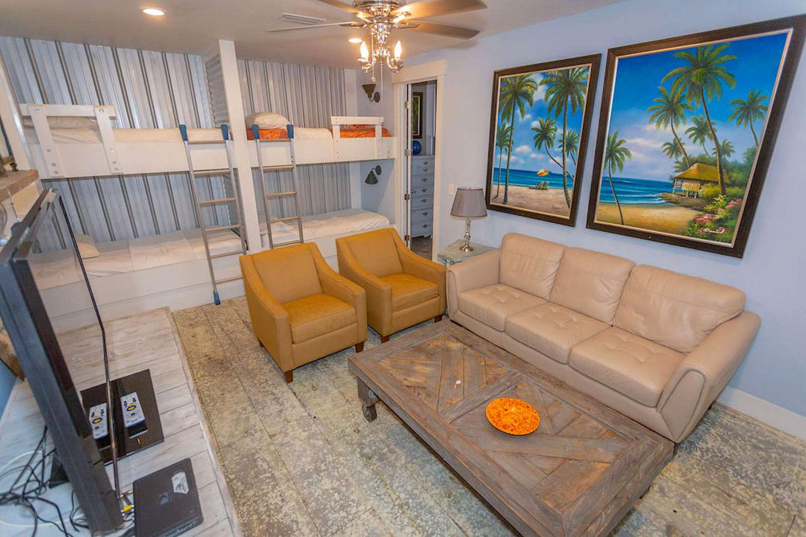 family room, sofa, 2 chairs, 3 sets of bunks-sleeps 6, flat screen