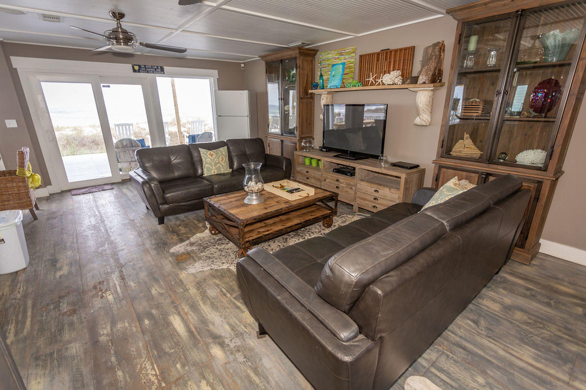 Family room with large flat screen and incredible ocean views