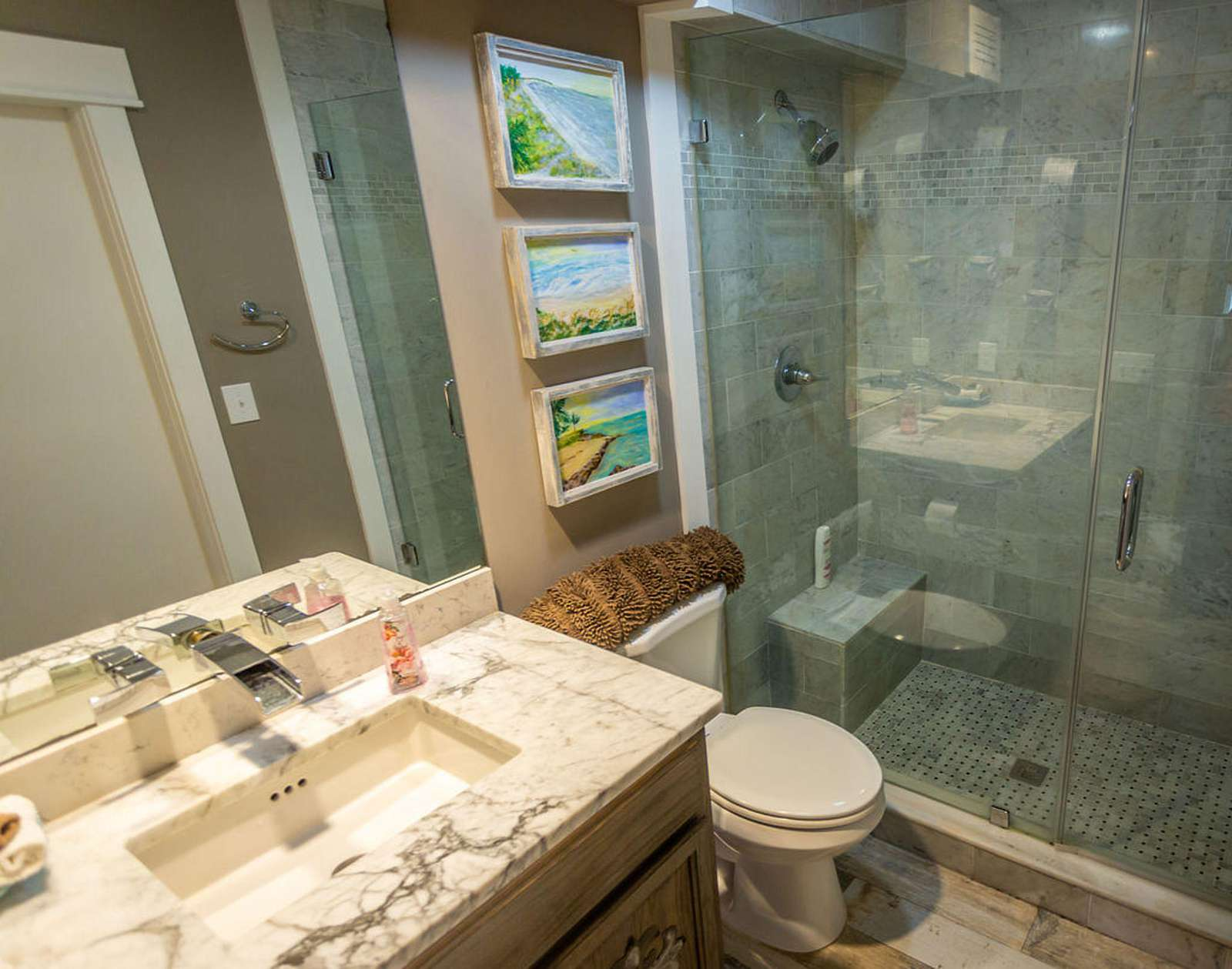 Bathroom #2- large white Carrera marble shower with built-in bench