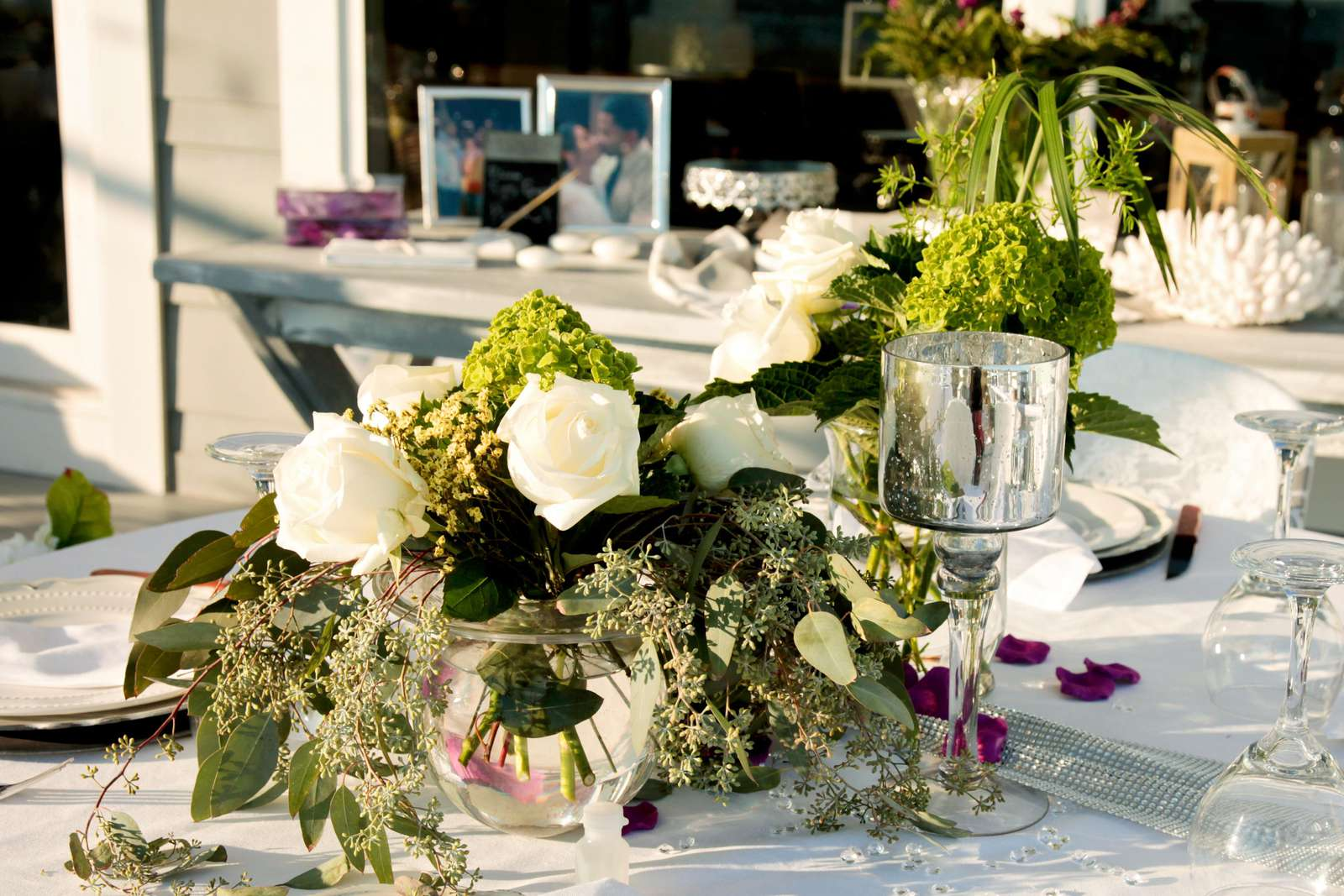 Wedding reception on back deck