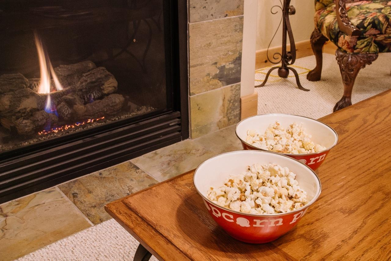 Stay in for a movie by the gas fireplace