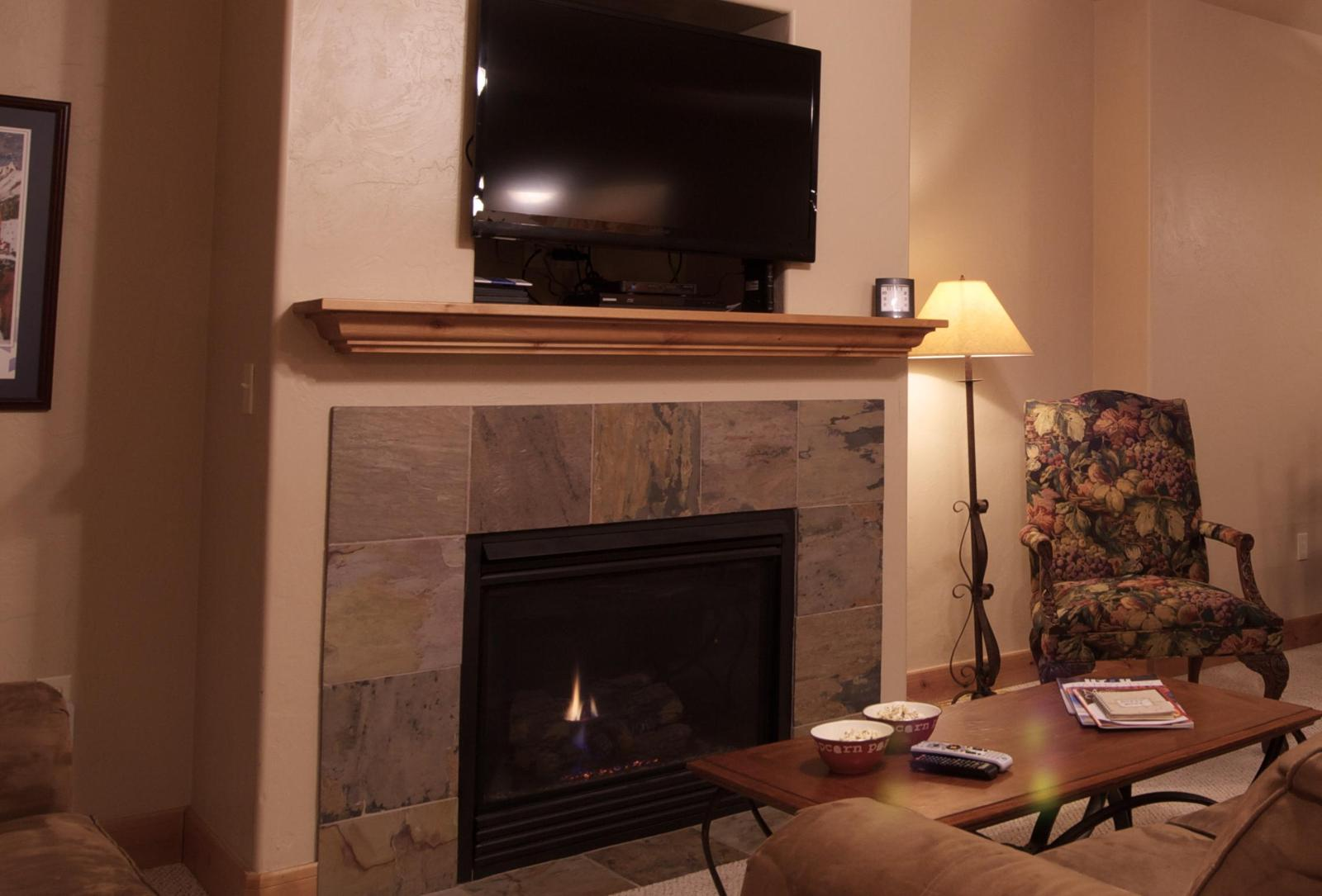 Gas fireplace and flat panel TV with cable & DVD player
