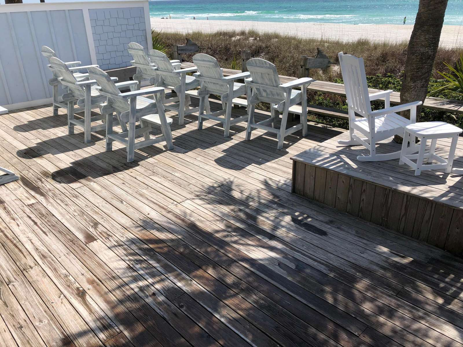 Tall Chairs & Rockers overlooking ocean, 2 charcoal grills