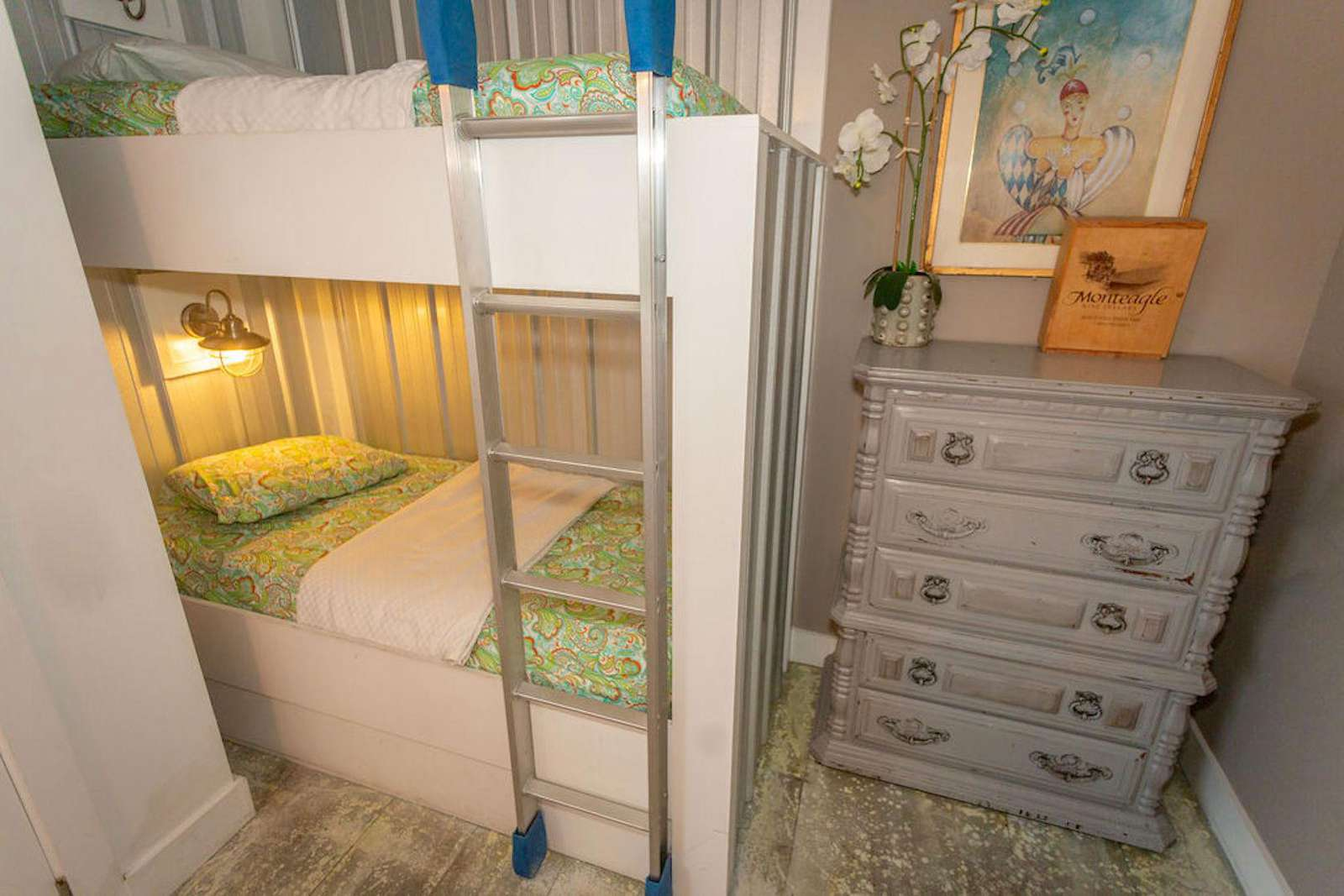 Bedroom # 6 king size bed with a set of bunks