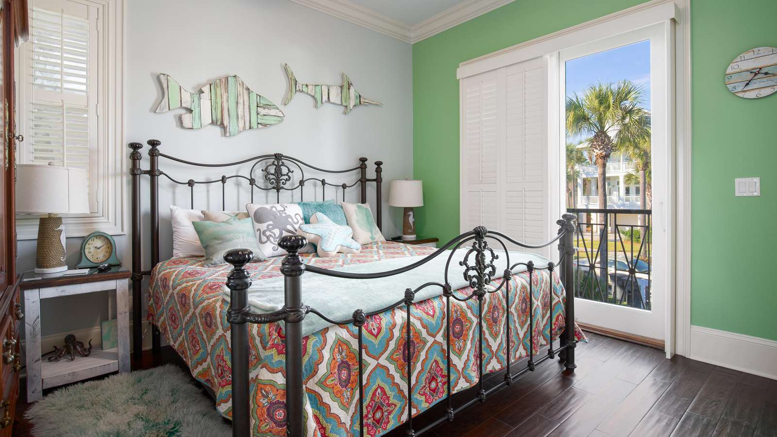 The 3rd bedroom features a king sized bed, private balcony, and full bathroom.