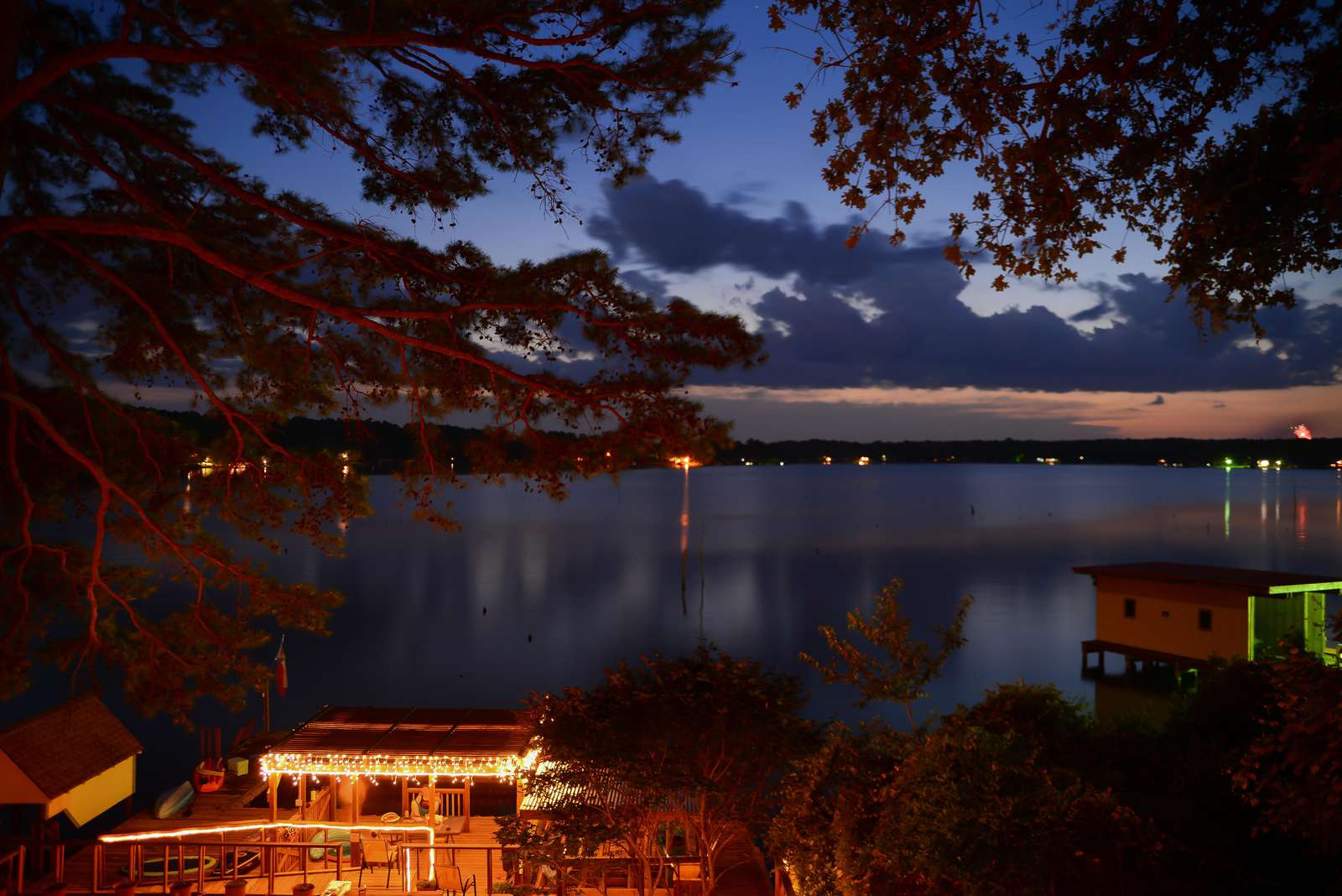 The view and quiet nights on the lake seem to be a favorite with our guests. Note the fireworks on the right side.