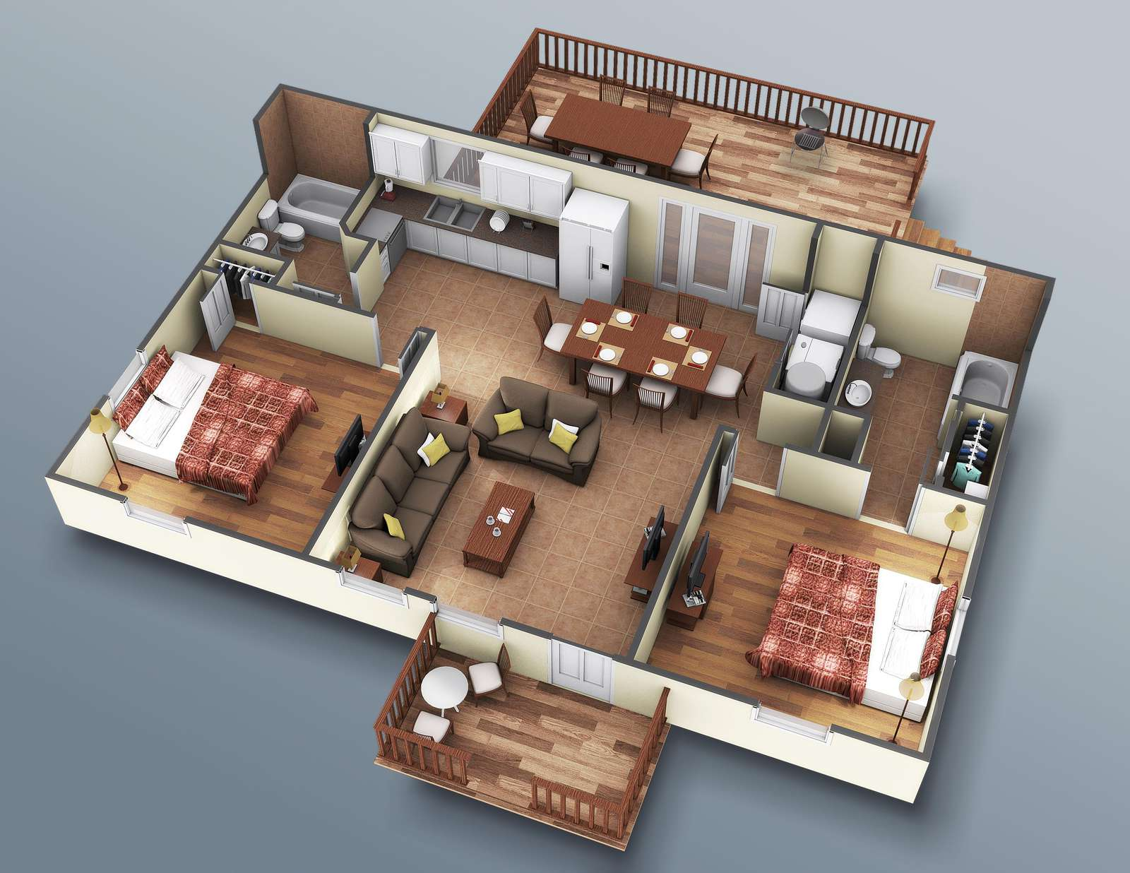 This is an interior rendering of the home. It is accurate down to furniture location.