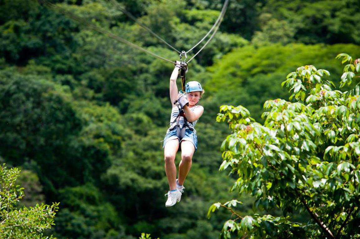 Ziplining in the forest