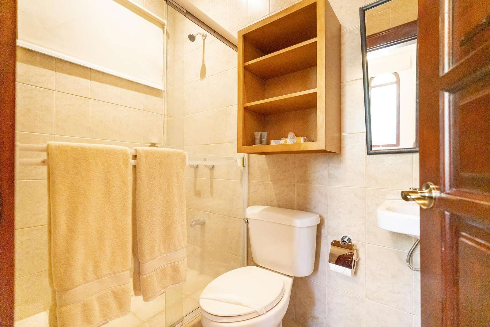 Private bathroom with walk in shower, separate guest apartment