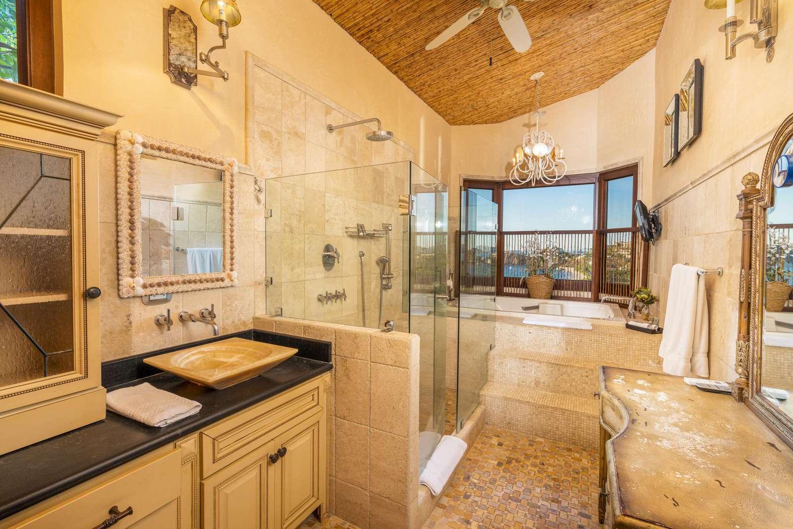 Master bathroom, dual vanity, walk in shower, jacuzzi tub