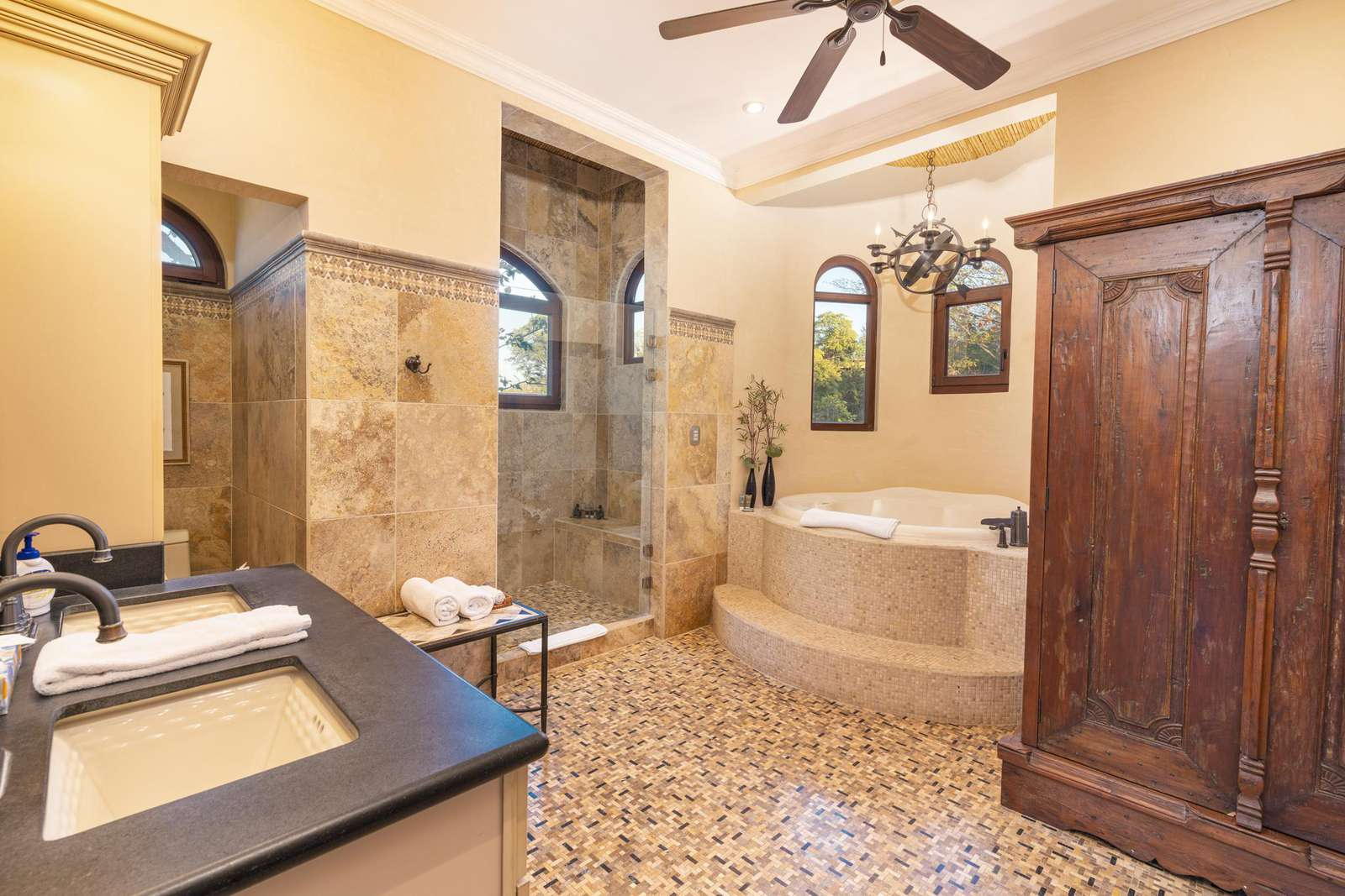 2nd master bathroom with oversized jacuzzi, walk in shower, dual vanity