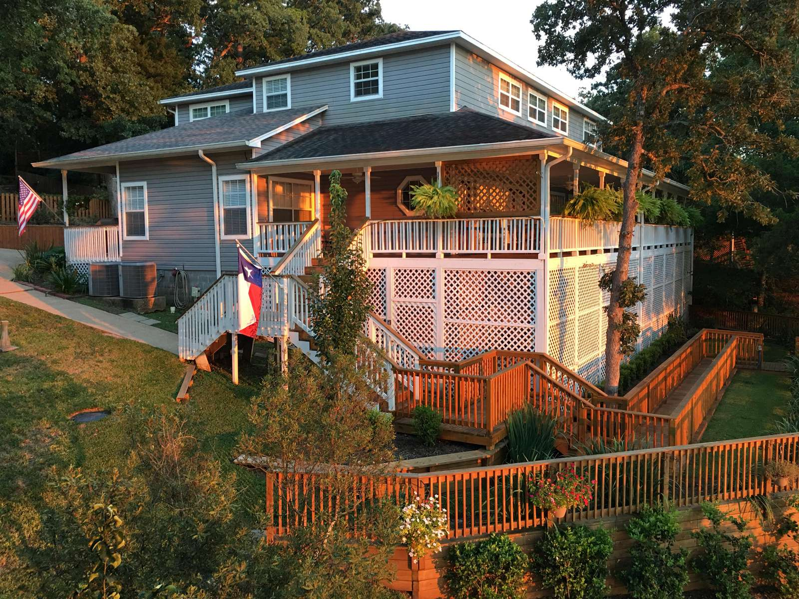 This side view of Lakeside was taken as the sun was setting. The home is shaded and faces west.