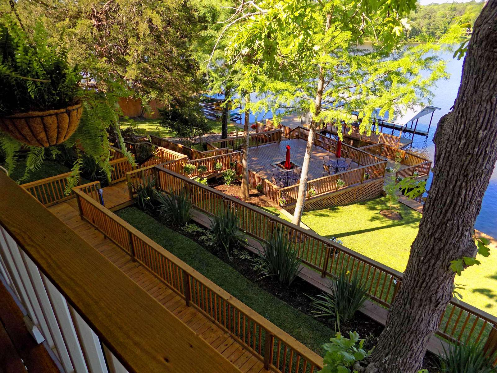 The view off the wrap around deck towards the lake.