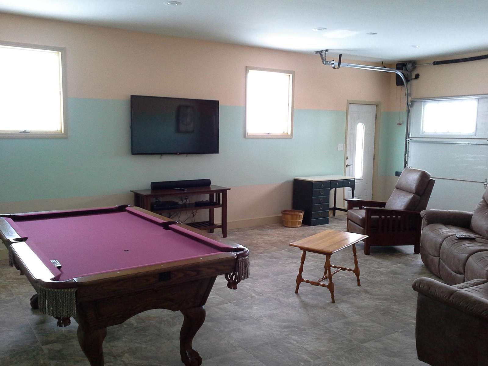 Rec room with TV, pool and foosball