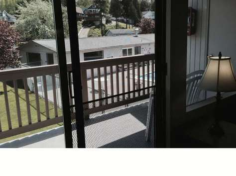 View out sliding door to patio