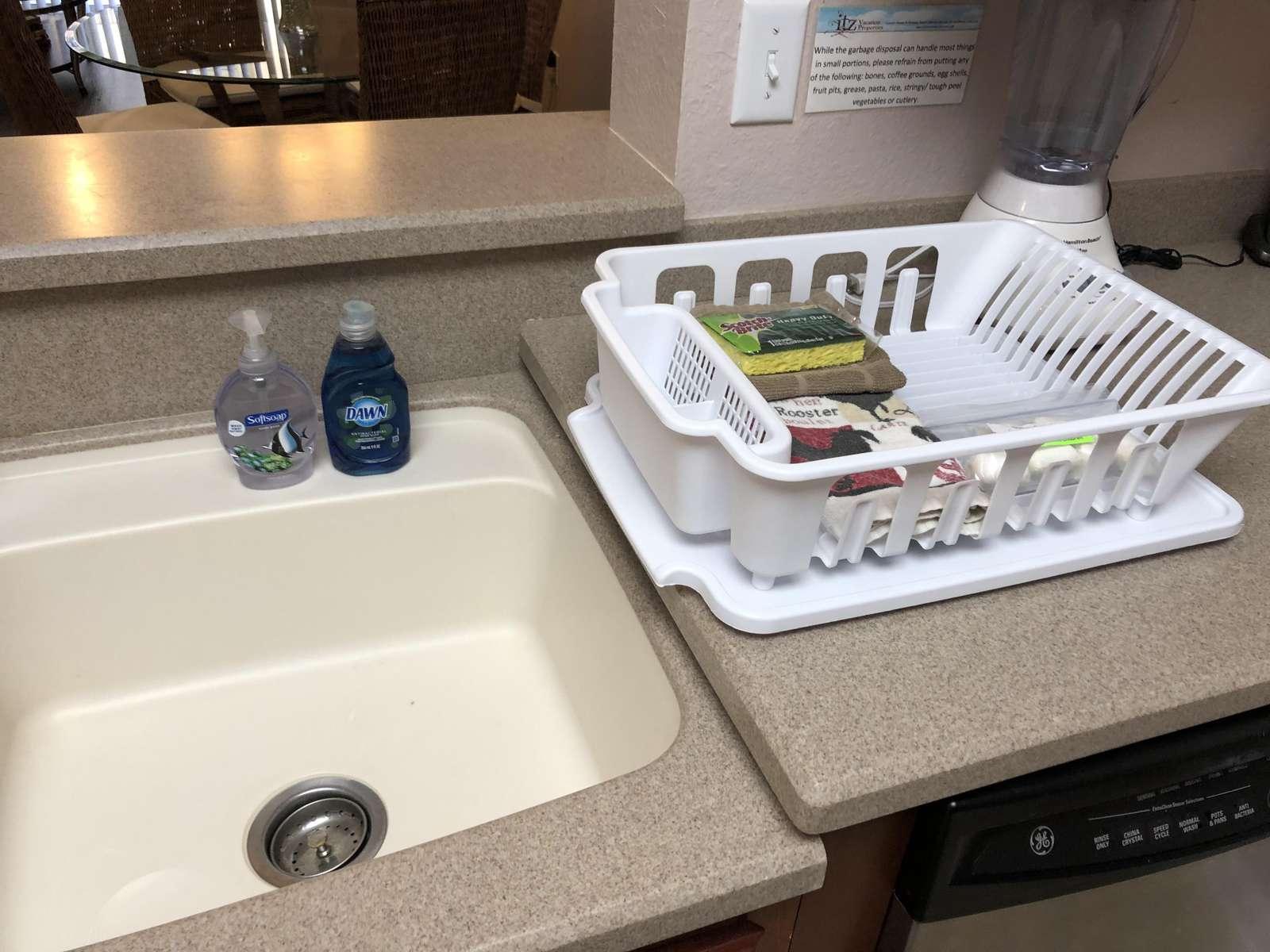 Dish soap, sponge and dishwasher tabs