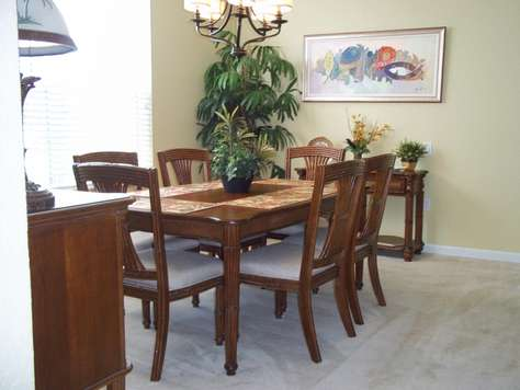 Dining room with table for six